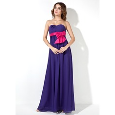 Empire Sweetheart Floor-Length Chiffon Chiffon Maternity Bridesmaid Dress With Sash Bow(s)