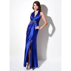 Sheath/Column Halter Floor-Length Charmeuse Evening Dress With Ruffle Sash Beading Bow(s) Split Front
