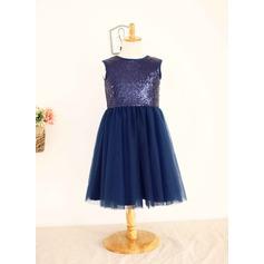 Ball Gown Knee-length Flower Girl Dress - Tulle/Sequined Sleeveless Scoop Neck