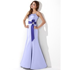 Trumpet/Mermaid Floor-Length Satin Bridesmaid Dress With Sash Crystal Brooch