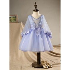 Ball Gown Knee-length Flower Girl Dress - Polyester/Cotton Long Sleeves V-neck With Beading/Bow(s)