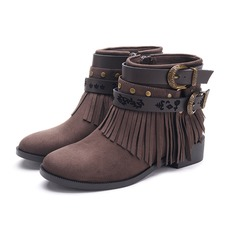 Women's Suede Low Heel Ankle Boots With Rivet Buckle Tassel shoes