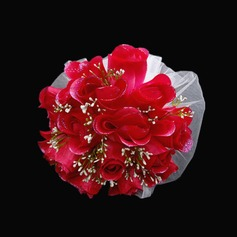 Romantic Round Satin/Tulle Bridal Bouquets