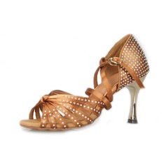 Women's Satin Heels Latin Ballroom With Rhinestone Dance Shoes