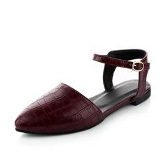 Leatherette Flat Heel Flats Closed Toe Slingbacks shoes