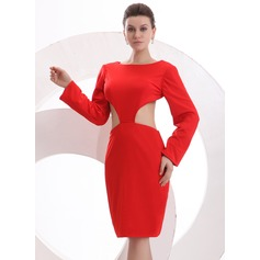 Sheath/Column Scoop Neck Knee-Length Jersey Cocktail Dress
