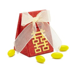 Double Happiness Pyramid Favor Boxes With Ribbons (Set of 12)