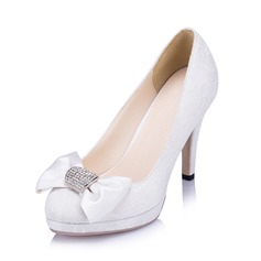 Women's Lace Stiletto Heel Closed Toe Pumps With Bowknot Rhinestone