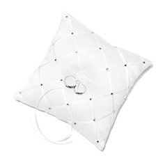 Pure Elegance Ring Pillow in Satin With Ribbons/Rhinestones