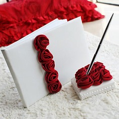 Luxury Rose Lined Satin Petals Guestbook/Pen Set