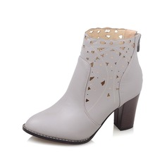 Women's Leatherette Chunky Heel Pumps Closed Toe Boots Ankle Boots With Hollow-out shoes