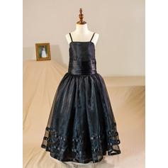A-Line/Princess Floor-length Flower Girl Dress - Tulle Straps