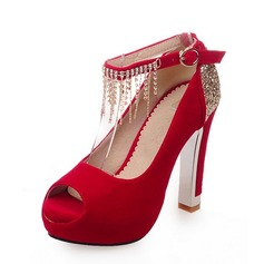 Women's Suede Chunky Heel Platform Peep Toe With Rhinestone Buckle Tassel shoes