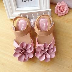 Mädchens Leder Flache Ferse Round Toe Sling Flache Schuhe mit Blume