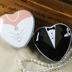 Bride & Groom Heart-shaped Favor Tins and Pails (Set of 6 Pairs)