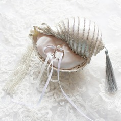 Conch Ring Pillow With Ribbons