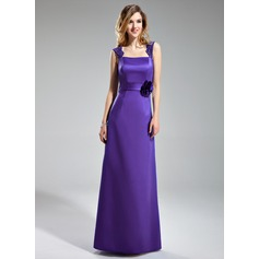 Sheath/Column Square Neckline Floor-Length Satin Bridesmaid Dress With Flower(s)