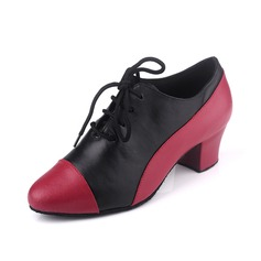 Women's Real Leather Heels Pumps Modern With Lace-up Dance Shoes
