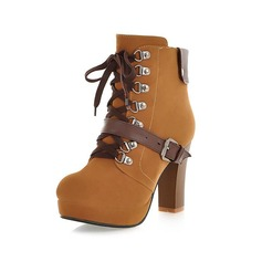 Leatherette Chunky Heel Ankle Boots With Buckle Lace-up shoes