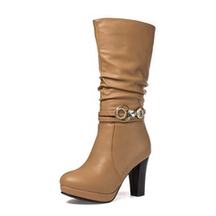 Women's Leatherette Chunky Heel Mid-Calf Boots With Rhinestone shoes