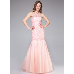 Trumpet/Mermaid Scoop Neck Floor-Length Tulle Lace Prom Dress With Ruffle Beading