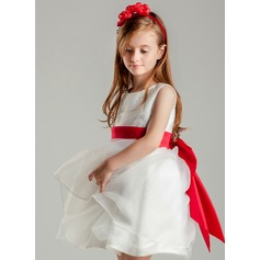 Short/Mini Flower Girl Dress - Polyester Sleeveless Scoop Neck With Embroidered/Sash/Bow(s)