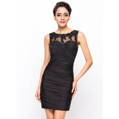 Sheath/Column Scoop Neck Short/Mini Jersey Cocktail Dress With Ruffle Beading Appliques Lace Sequins
