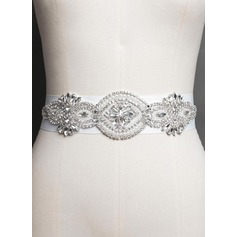 Stylish Satin Sash With Rhinestones/Imitation Pearls