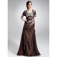 A-Line/Princess V-neck Floor-Length Taffeta Bridesmaid Dress With Ruffle Beading Appliques Lace Sequins