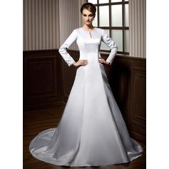 Forme Princesse Col rond Traîne mi-longue Satiné Robe de mariée avec Dentelle Emperler