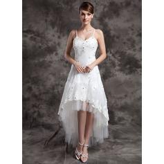 A-Linie/Princess-Linie V-Ausschnitt Asymmetrisch Organza Tüll Brautkleid mit Perlen verziert Applikationen Spitze