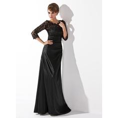A-Linie/Princess-Linie U-Ausschnitt Bodenlang Charmeuse Lace Kleid für die Brautmutter mit Rüschen Perlen verziert