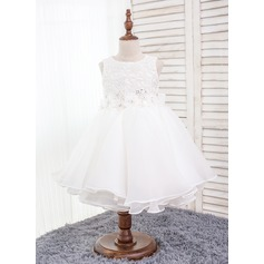 Ball Gown Knee-length Flower Girl Dress - Polyester/Cotton/Chinlon Sleeveless Scoop Neck With Ruffles/Bow(s)/Rhinestone