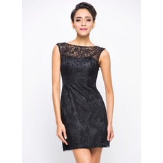A-Line/Princess Scoop Neck Short/Mini Lace Cocktail Dress With Beading Sequins