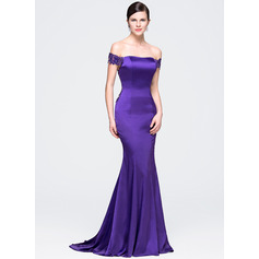 Trumpet/Mermaid Off-the-Shoulder Court Train Satin Lace Evening Dress With Beading Sequins (017071546)
