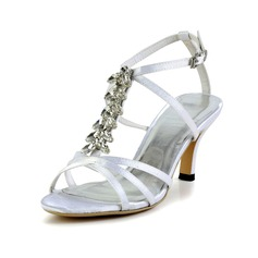 Women's Silk Like Satin Cone Heel Sandals Slingbacks With Buckle Rhinestone