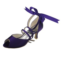 Women's Satin Spool Heel Peep Toe Sandals With Ribbon Tie