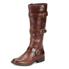 Women's Leatherette Low Heel Boots Mid-Calf Boots With Buckle shoes (088098243)