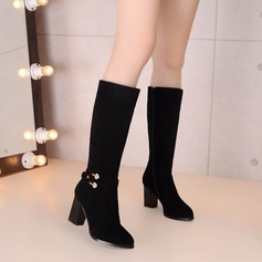 Women's Suede Chunky Heel Pumps Knee High Boots With Buckle Zipper shoes