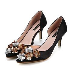 Women's Suede Stiletto Heel Pumps With Sequin