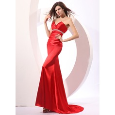 Sheath/Column Sweetheart Court Train Evening Dress With Ruffle Beading