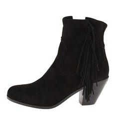 Women's Velvet Chunky Heel Boots Ankle Boots With Tassel shoes