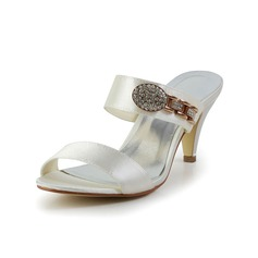 Women's Satin Cone Heel Peep Toe Sandals With Sequin