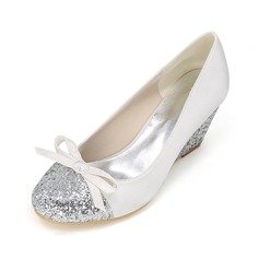 Women's Satin Stiletto Heel Closed Toe Pumps Wedges With Bowknot