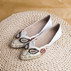 Women's Cloth Flat Heel Flats Closed Toe With Sequin Imitation Pearl shoes