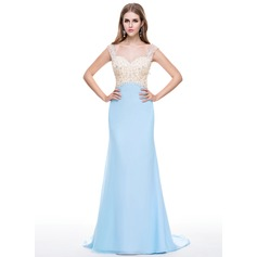 Trumpet/Mermaid Sweetheart Watteau Train Chiffon Evening Dress With Lace Beading Sequins