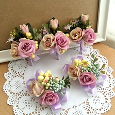 Fascinating Ribbon/Artificial Silk Flower Sets (set of 2) - Wrist Corsage/Boutonniere