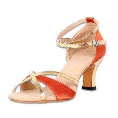 Women's Satin Heels Sandals Pumps Latin With Ankle Strap Dance Shoes