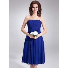 A-Line/Princess Strapless Knee-Length Chiffon Bridesmaid Dress With Ruffle