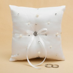 Grace Ring Pillow With Ribbons/Rhinestones/Faux Pearl